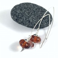 Boucles d'oreilles épurées argent 925 et verre artisanal ambre