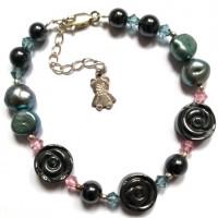 bracelet hématite grise - perles eau douce baroques - toupies cristal - argent 925