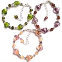 bracelets c?urs lampwork - verre craquelé -  en 10 coloris au choix
