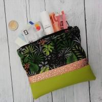 Mini pochette zippée, theme jungle, vert anis,et rose brillant