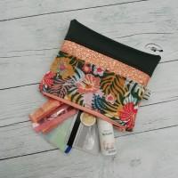 Mini pochette zippée, theme hibiscus, vert, cuivré et rose