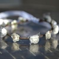 Couronne de fleurs blanches pour demoiselle d'honneur communion ou baptême