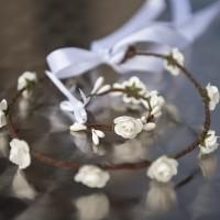 Couronne de fleurs demoiselle d'honneur et son bracelet assorti