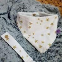 bavoir bandana et son attache tutute étoile doré fait main