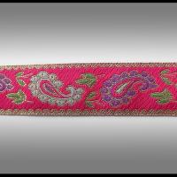 galon tissé fil dorés, rose, multicolore 2.9 cm