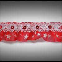 Volant dentelle organza rouge à étoiles et sequins  3 cm DEN061