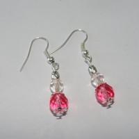 Boucles d'oreilles verre rose et transparent