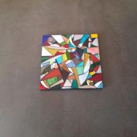 Dessous de plat carré  multicolore en mosaïque de verre - fait main