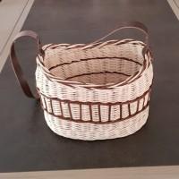 Panier - sac - en rotin écru et marron avec bandoulière cuir marron - fait main