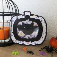 Carte shaker halloween 3D, Carte Citrouille chauve-souris, Carte 3D citrouille, carte à secouer, carte moderne, carte faite main