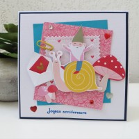 Carte anniversaire femme, Carte colorée, carte moderne, Carte 3D, carte faite main, carterie, escargot et lutin, champignon