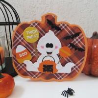 Carte halloween 3D, Citrouille, fantôme, bonbons, chauve-souris, Carte 3D citrouille, carte moderne, carte faite main