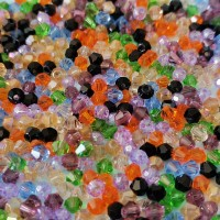 Perles en verre forme toupie 4 mm multicolore x 50