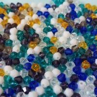 Perles en verre toupie 4 mm multicolore x 50