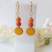 Kit boucles d'oreilles sequin émail orange et perles en verre colonne bicolore