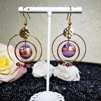 Boucles d'oreilles créoles violettes Murano dorées