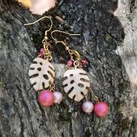 Boucles d'oreilles feuilles roses tropicales