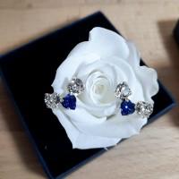 Boucles d'oreilles trio d'amour cristal bleu