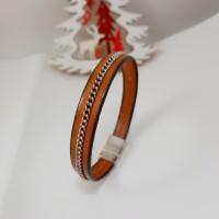 Bracelet cuir homme brun chaîne
