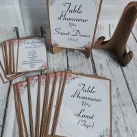 Pla de table avec chevalet thème romantique chic
