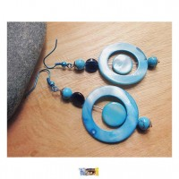 B.O. Design - Nacre, Turquoise - Acier inoxydable - Fermoirs crochets métal turquoise métallisé