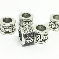 Perles tubes motif celtique 11x8mm, large trou, argenté vieilli, par 5