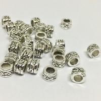 Petites perles tubes motif ethnique 5x3mm argenté vieilli, large trou, par 20