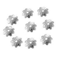 coupelles calottes acier inoxydable gravées fleur 7mm, par 10, perçage 1mm