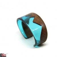 bracelet en bois et résine bleu unisexe