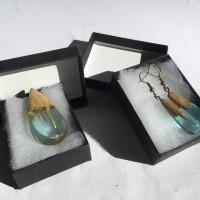 Commande personnalisée Parure bijoux en bois et résine bleue bijoux fantaisie pendentif en bois et résine bleue cadeau anniversaire cadeau femme