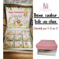 Boîte de chocolats à personnaliser , thème au choix