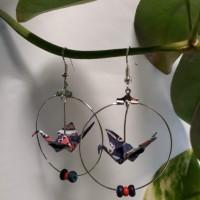 Boucles d'oreilles origami grue marine et rouge V2