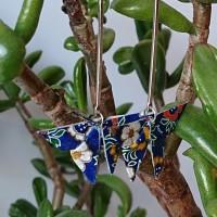 Boucles d'oreilles origami papillon fleuri