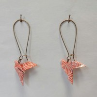 Boucles d'oreilles origami colombe automnale