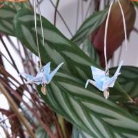 Boucles d'oreilles origami grue bleu ciel