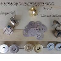 lot de 100 , boutons magnétiques , pression aimanté , fermoir de sac , 14 mm / 3mm , argent , doré , vieux laiton