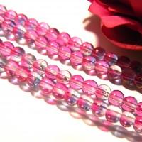 80 perles en verre 4 mm - perle violine,  verre electroplaqué mat , verre effet givré , incrustation paillettes or,  verre mat  translucide - 2 tons violine Q39