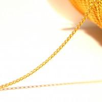 2 M de chaîne trés fine-  chaine maille gourmette,  , maille ovale lisse 1.5 mm x 1 mm- chaine dorée - NF80