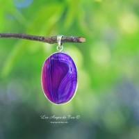 Sublime Agate Botswana violette  pendentif forme ovale
