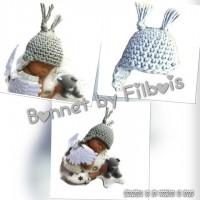 Bonnet miniature pour bébé fimo, lot de 3
