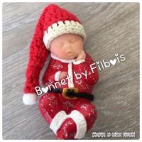 Bonnet miniature de noël pour bébé fimo, lot de 3