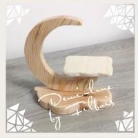 Support demi-lune en bois, accessoires bébé fimo