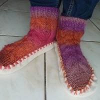 chaussons rose/orange/violet semelle fourrée