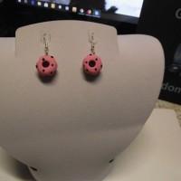 Boucle d oreille donuts-rose-point noir