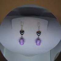 Boucle d'oreille figurine violet-vernis-barba-papa-avec perle hématite c?ur