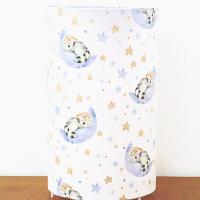 lampe tube bleu nuages ratons laveurs, lunes et étoiles