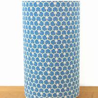 lampe tube motif géométrique tissu riad bleu