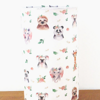 lampe tube motifs animaux fleuris girafe éléphant paresseux panda koala