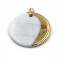 Bijou pendentif rond de porcelaine décor