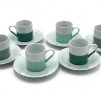 Tasses à café porcelaine fine trois tons de vert